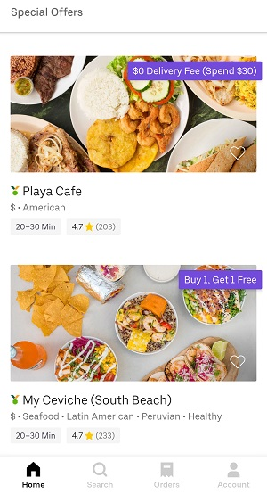 Uber Eats Special Offers tab