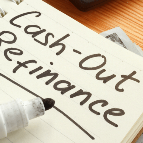 cash out refinance written on a notebook