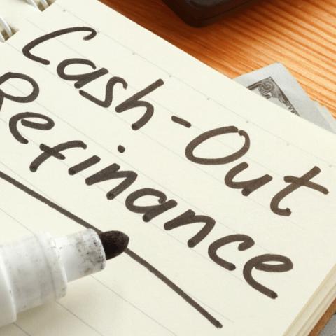 cash out refinance written on a notebook