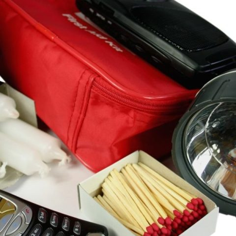 Emergency first aid kit containing items that you should stock up on at home