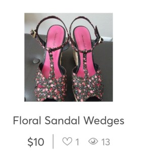 Likes and views on a Mercari listing for floral sandal wedges.