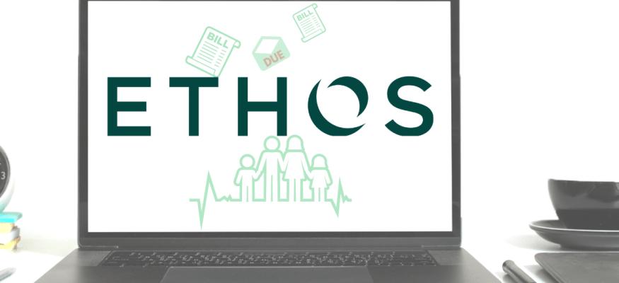 Ethos life insurance logo on laptop computer