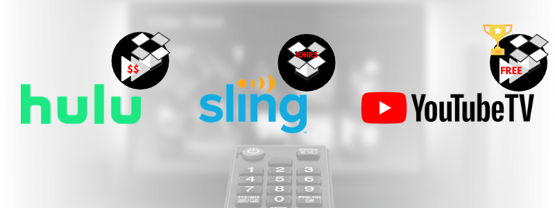 YouTube TV has the best cloud DVR storage compared to live TV streaming services like Hulu+Live TV & Sling TV