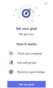 How to set your goal feature in the Mercari app.