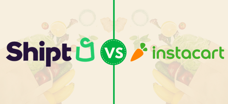 Shipt vs. Instacart online grocery delivery service logos