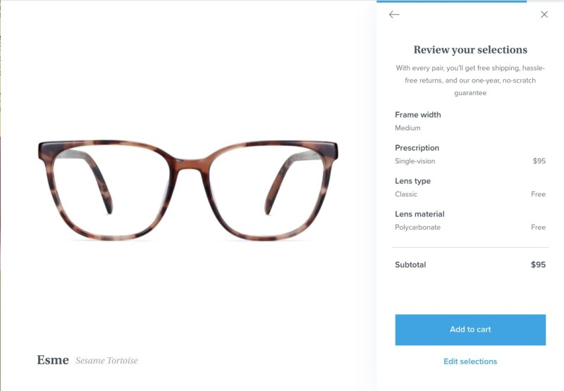 Reviewing your selections before adding a pair of Warby Parker glasses to your online shopping cart