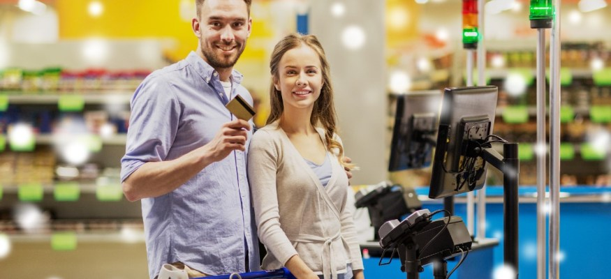 Consumers are using credit cards for grocery purchases at increasing rates in 2020.