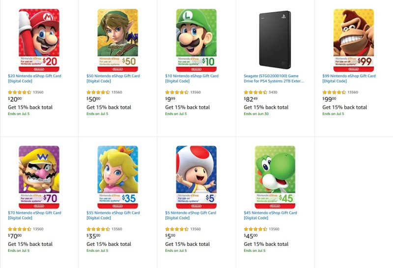 Amazon.com offers nine different Nintendo eShop gift cards at 15% cash back.
