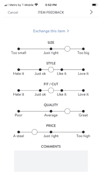 Stitch Fix item feedback survey including size, style, fit/cut, quality and price rating scales.