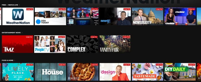 The Roku Channel's menu now has live television options.