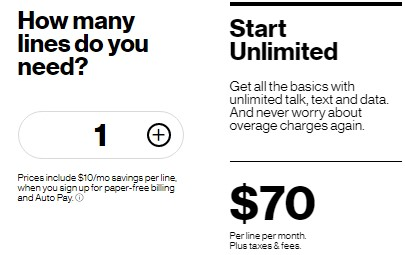 The pricing for Verizon's unlimited cell phone plans starts at $70.