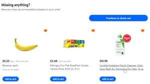 Checkout process for Walmart grocery delivery.