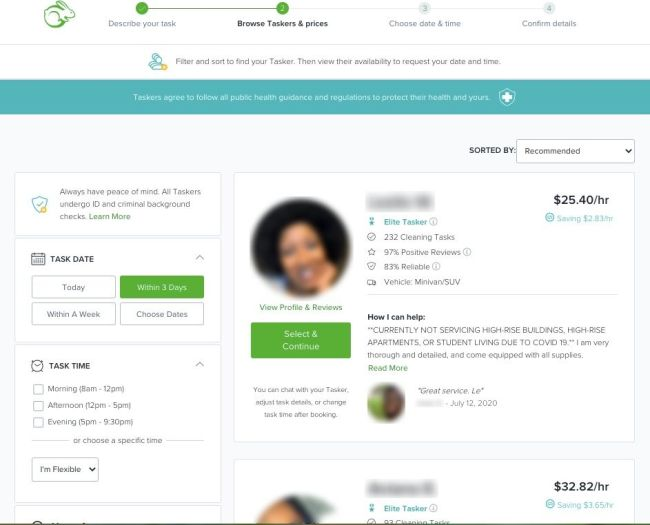 TaskRabbit results page showing Taskers in Atlanta that specialize in cleaning