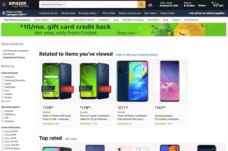 Unlocked phones available online at Amazon