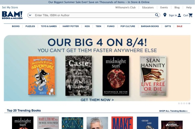 Books A Million online bookstore