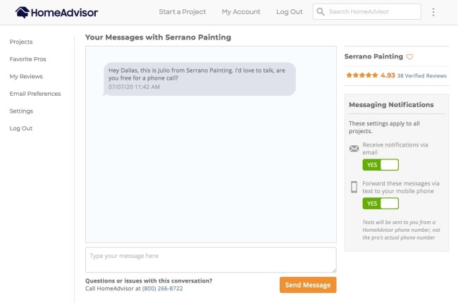 A message received from a professional on HomeAdvisor requesting a follow-up call