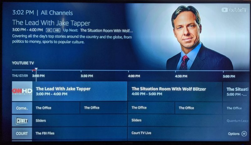 Amazon Fire TV offers a traditional channel list menu.