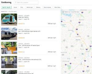 Outdoorsy RV rental website