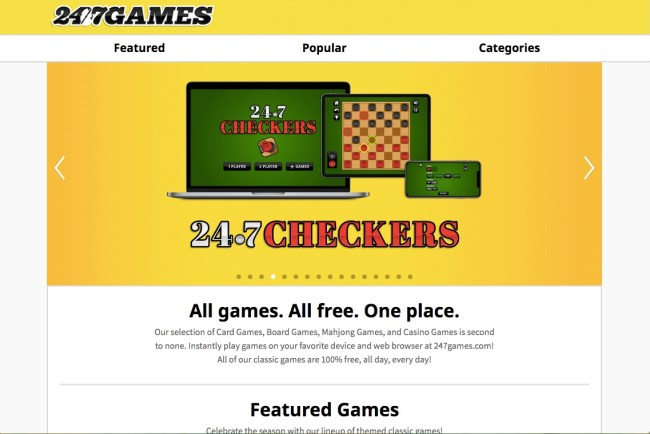 247 Games homepage