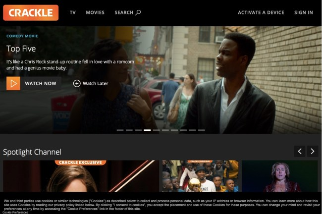 Crackle home screen featuring popular free online movies