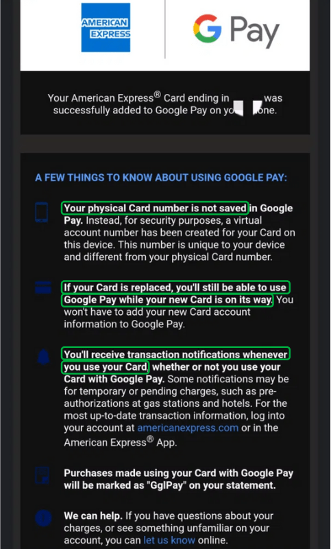 American Express sends an email to users after signing up for Google Pay.