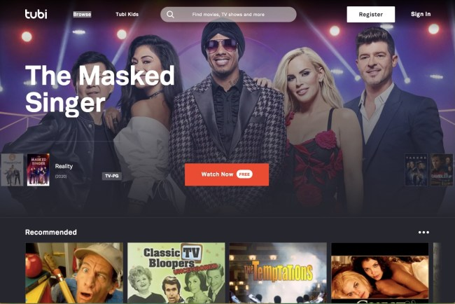 Tubi homescreen featuring popular free online movies