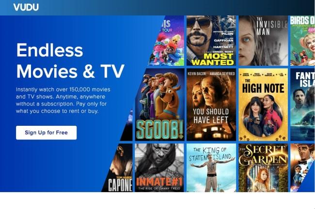Écran d'accueil Vudu avec des films en ligne gratuits