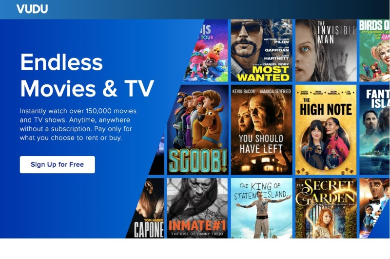 Vudu homescreen featuring free online movies