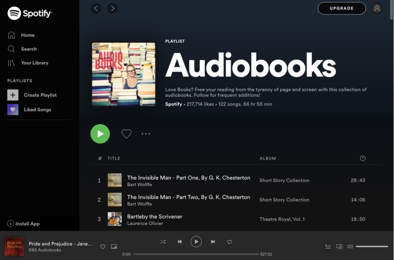 Spotify audiobooks playlist