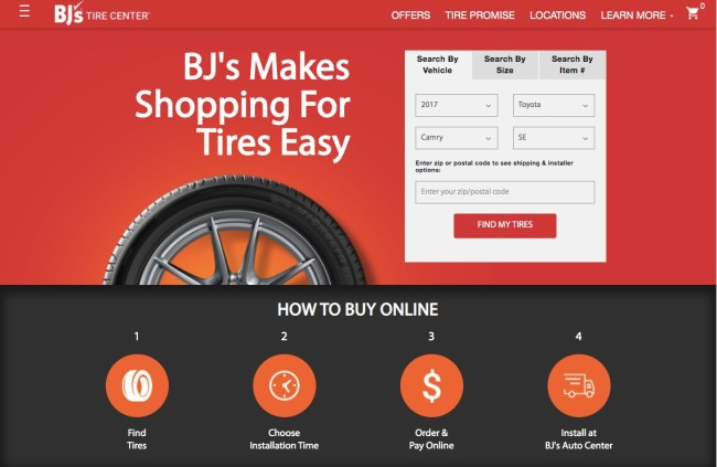 BJ's Wholesale Club Tire Center website homepage with four tips on how to buy tires online