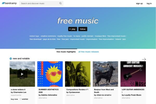 Bandcamp homepage featuring free music downloads