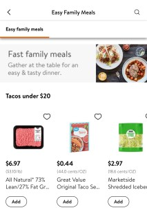Walmart App's Family Meals feature