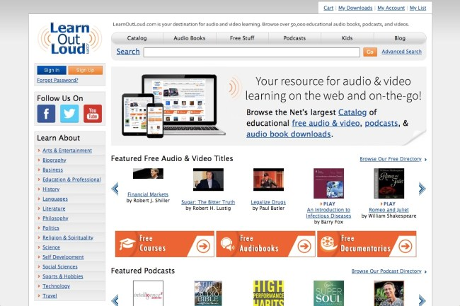 Learn Out Loud free educational audiobooks