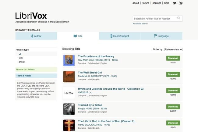 LibriVox homepage featuring free audiobooks