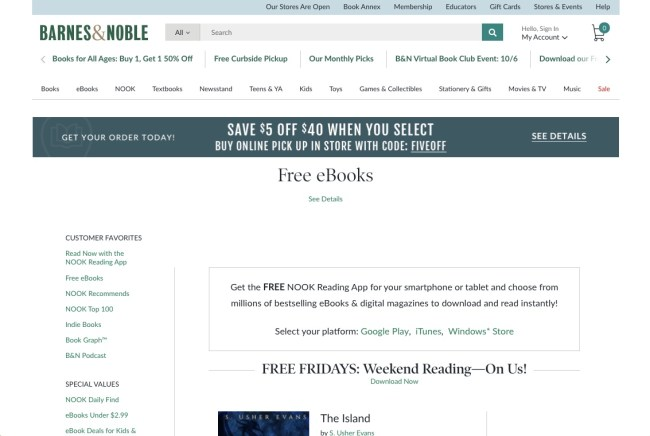 Barnes Noble - 15 of the Finest Locations to Discover Free E-Books