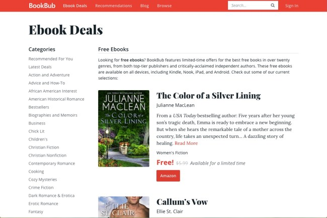 BookBub free ebooks