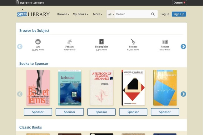 Open Library website homepage