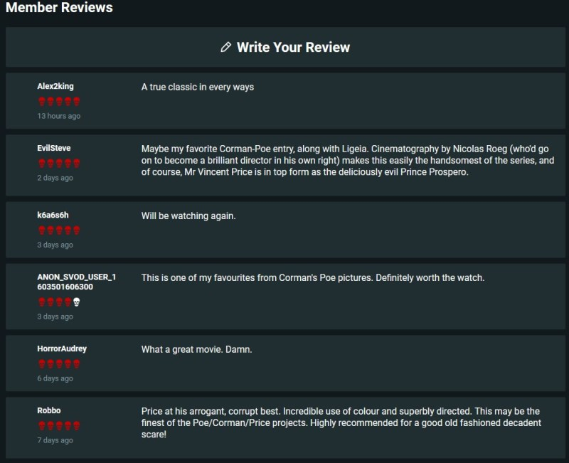 Shudder allows users to give feedback by rating the content.