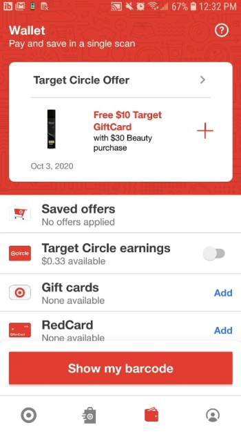 Target Drive Up Savings offers in the app