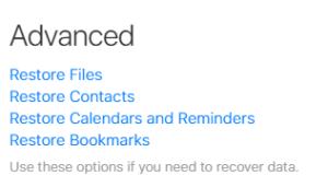 Advanced Settings in iCloud