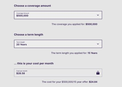 Fabric allows you to modify your term length and coverage amount once you receive an offer.