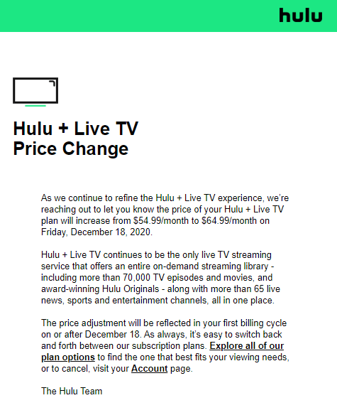 Hulu+ Live TV price hike