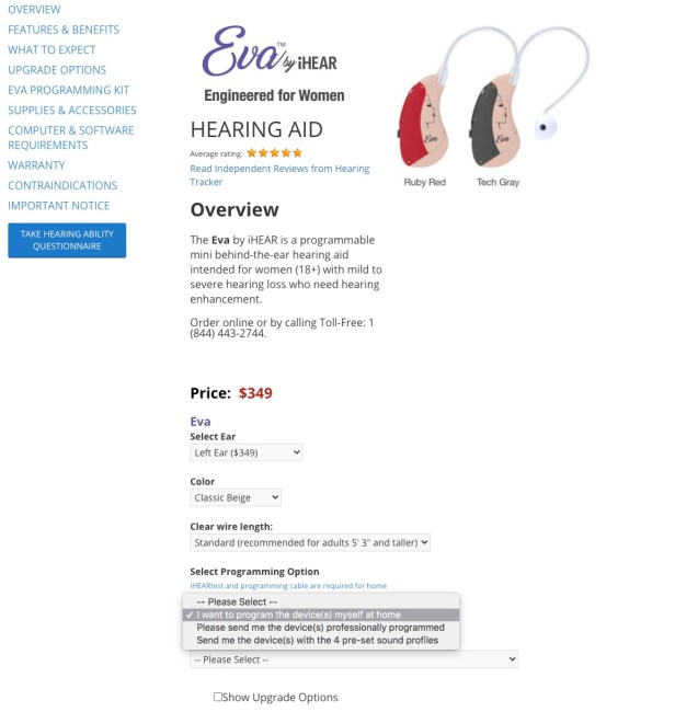 Choosing a programming option on a hearing aid from iHEAR Medical