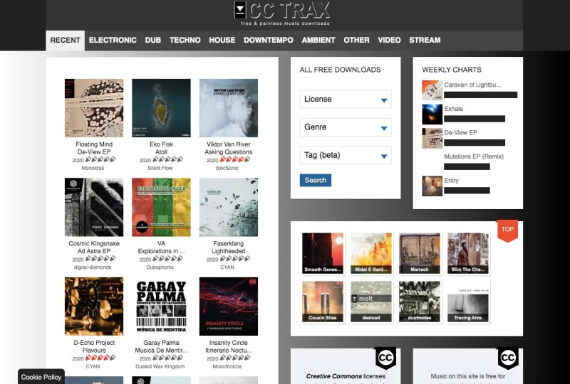 free music online with CC Trax