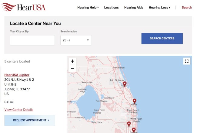 Requesting an appointment online at HearUSA