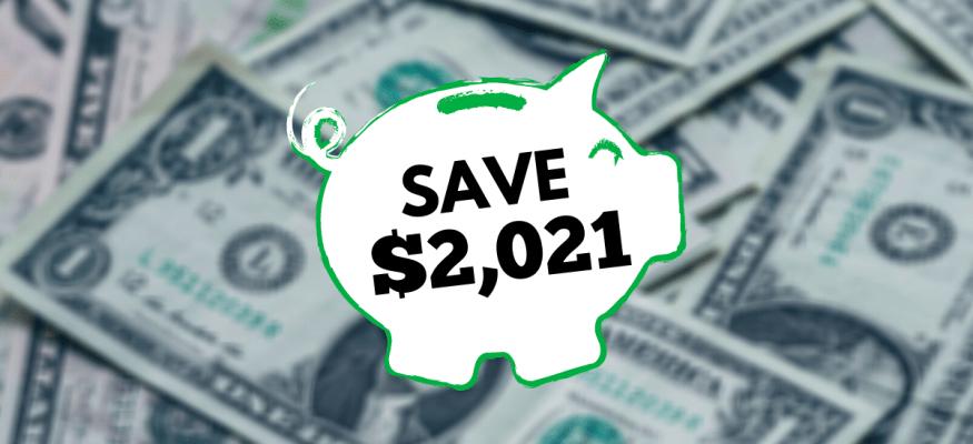 Save $2,021 in 2021 money challenge