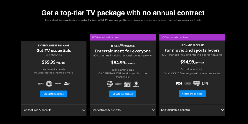 AT&T TV plans