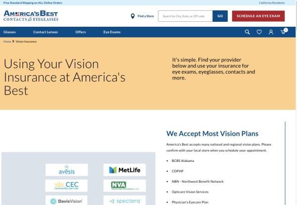 Insurances accepted at America's Best