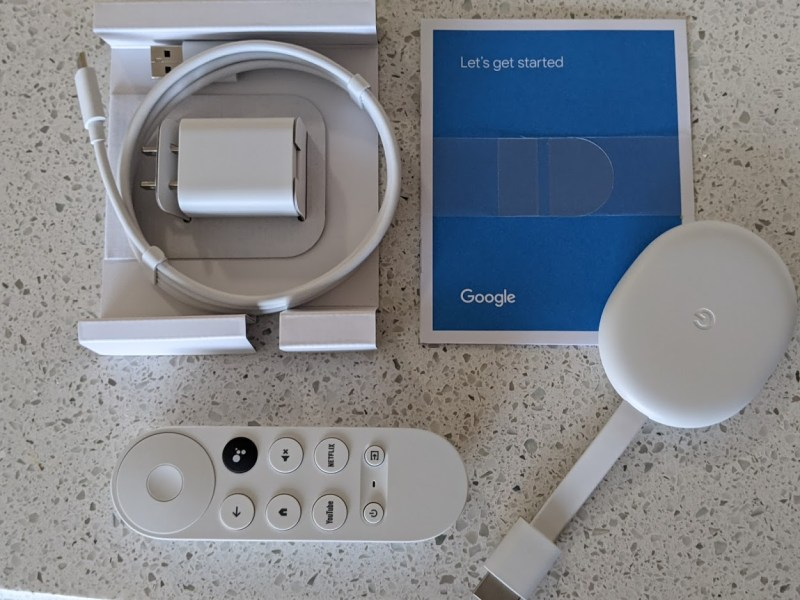 The Chromecast with Google TV comes with a dongle, remote and accessories in the box.