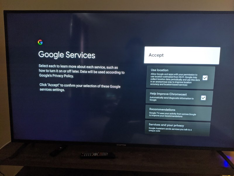 Google requires that you accept terms of service prior to using a Chromecast.